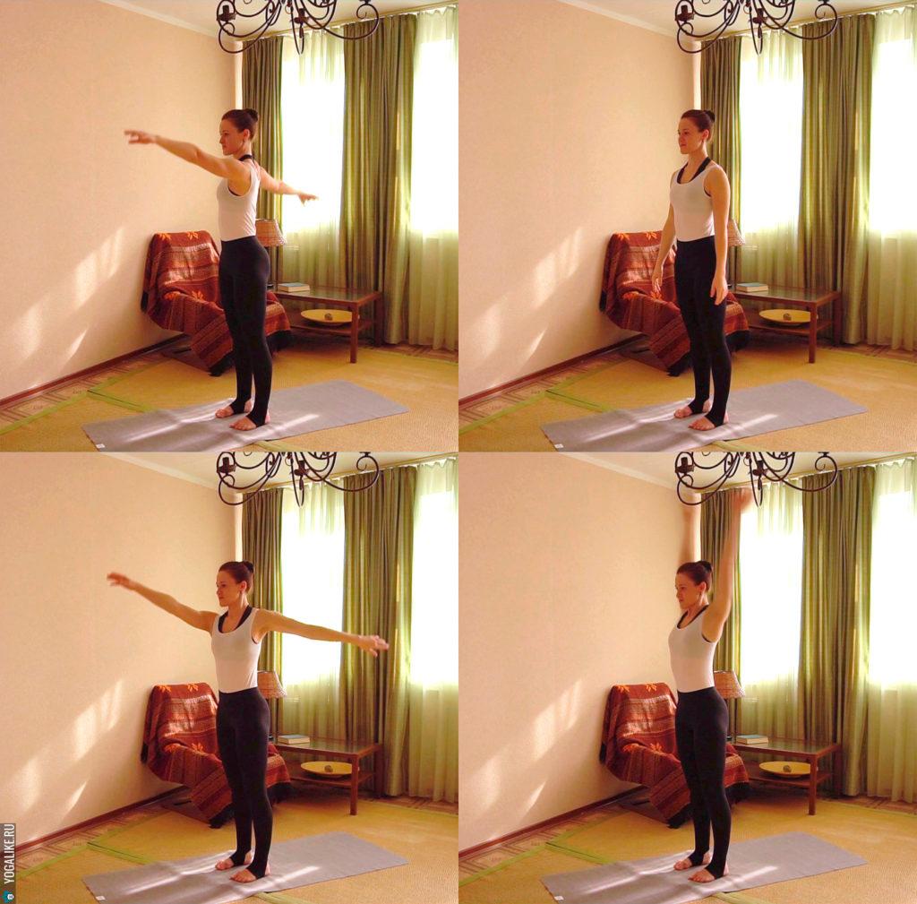 Разминка для плеч: вращение руками в противоположные стороны