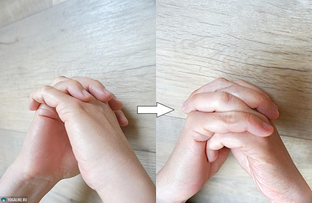 Положение пальцев рук для Ширшасаны